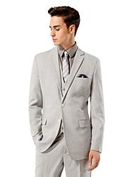 sólido traje de ajuste de color gris claro sastre en lana