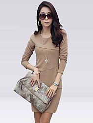 Delargent Women's Fashion Elegant Slim Warmth Long Sleeve Dress