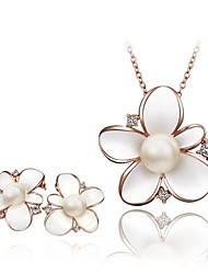 Jewelry Necklaces Earrings Wedding Party Daily Casual Sports Crystal Alloy Imitation Pearl Rhinestone Women Rose Wedding Gifts