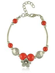 Z&X® Vintage Tibetan Silver Flower Turquoise Strands Charm Bracelets (Blue, Red)