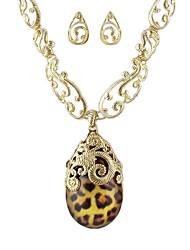 2014 Elegant Aulic Style Gold-Tone Leopard Pattern Pendant Necklace Earrings Jewelry Set