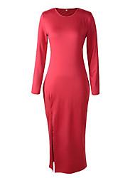 em torno do pescoço de cor sólida sexy alta coxa divisão vestido maxi das mulheres Mingfan