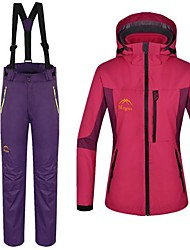 Women's 3 in 1 Polyester Thermal Windproof and Anti-wear Skiing Suit