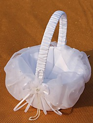White Basket With Tulle Flower Girl Basket