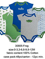 Children's 5 pcs lot Kids Short-sleeve 100% Cotton Bodysuits 0-1 Romper Baby Jumpsuit