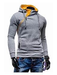 COOLMAN Men More Solid Buckle Hedging Slim Hooded Sweater