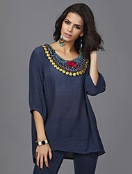 Women's Casual/Daily Simple Spring / Summer / Fall Blouse,Print Round Neck ½ Length Sleeve Blue Cotton Thin