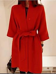 NYO Women's Long Sleeve Slim Fashion Round Collar Tie Tweed Overcoat