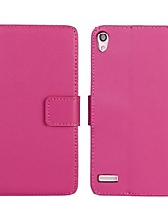 Solid Color Pattern Genuine Leather Full Body Case with Stand and Card Slot for Huawei P6