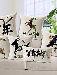 juego de 6 feliz funda de almohada decorativa ovejas año algodón / lino impreso