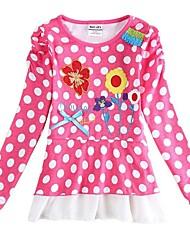 Mädchens T-Shirt Blumen T-Shirt Blume gestickte T-Shirt für Mädchen Polkapunktes langen Ärmeln T-Shirt Kinder T-Shirt