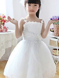 Ball Gown Tea-length Flower Girl Dress - Organza Sleeveless