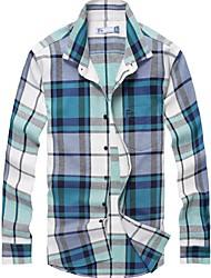 100% algodão moda casual de manga comprida camisa xadrez de flanela dos homens com a lavagem suave