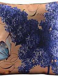 fleur et papillon coton / lin imprimé taie d'oreiller décoratif