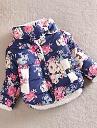 Girl's Blue / Multi-color Down & Cotton Padded Cotton Blend Winter