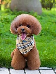 Регулируемая Холст и нейлон желтый узор ячейки треугольник шарф для домашних собак (различных размеров)