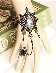 Star of David Black Lace Beauty Gothic Lolita Bracelet with Ring