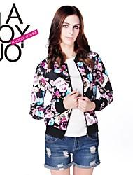 estilo vintage das mulheres haoduoyi® rosa impresso costela jaqueta estande moda