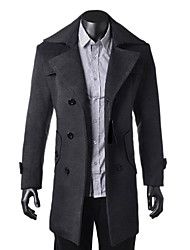 Zian®men's Lapel Collar  Zipper Solid Color Woolen Long Sleeves Trench Coat