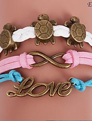 pulseras eruner®leather aleación de múltiples capas de amor y de tortuga encantos pulsera hecha a mano