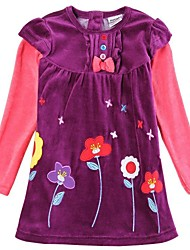 Girl's Purple Dress Cotton / Polyester Winter / Spring / Fall