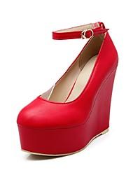 Chaussures Femme - Habillé - Noir / Rouge / Blanc - Talon Compensé - Compensées / Talons / Bout Arrondi - Talons - Similicuir