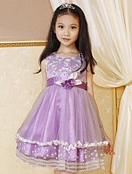 vestidos de princesa de la ropa de la boda de flores de lentejuelas de perlas multi-capas partido certamen niños de dama de honor de la muchacha