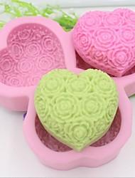 в форме сердца цветок розы помадной торт шоколадный силиконовые формы украшения торта инструментов, l14.5cm * w14.5cm * h3cm