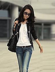 Women's Spring / Fall Blazer,Solid Long Sleeve Black / Gray Polyester Medium