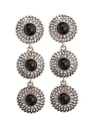 Woman's Retro Three-circle Zircon Earrings