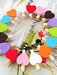 50pcs Wooden Mini Heart Clips Pegs Kids Birthday Gift Wedding Baby Shower Decorations Return Favors