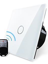 Norme UE, livolo blanc panneau de verre de cristal, la lumière de la maison à distance sans fil, commutateur de 1way 1 poste, 110-250vac