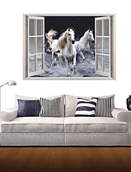 3D Wall Stickers Wall Decals, Flying White Horse Decor Vinyl Wall Stickers