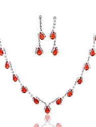 Conjunto de jóias Mulheres Aniversário / Casamento / Noivado / Presente / Ocasião Especial Conjuntos de Joalharia Liga StrassBrincos /