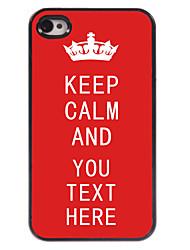 personnalisé étui rouge rester calme cas design en métal pour iPhone 4 / 4S