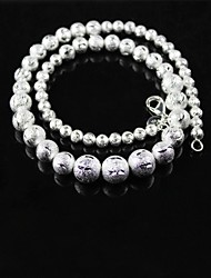 925 Silver Flash Sand Bead Necklace
