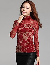 Women's Lace Red/Black/Yellow/Purple Blouse , Turtleneck Long Sleeve