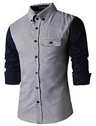 Men's Leisure Color Long Sleeve Shirt