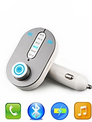 ECAR Newest Bluetooth Car Kit Handsfree FM Transmitter With USB Charger Port For Mobile Phone Support TF Card