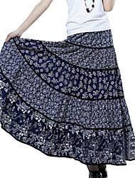 Women's Casual Linen Floral Pleated Long Skirt