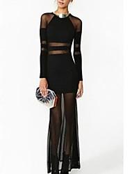 sólido vestido de malha cor splicing de Amica mulheres