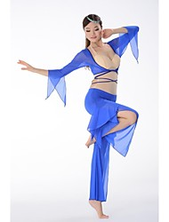 Belly Dance Outfits Women's Training Elastic Silk-like Satin / Modal Buttons As Picture Belly Dance / Yoga Lace-up / Clasp At BackSpring,