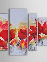 Oil Painting Modern Floral Harbour Enflamed Red Set of 4 Hand Painted Canvas with Stretched Frame