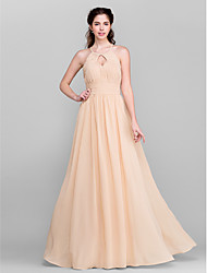 Lanting Bride® Floor-length Chiffon Bridesmaid Dress A-line Jewel Plus Size / Petite with Draping / Sash / Ribbon / Side Draping / Ruching