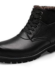 Men's Spring Summer Fall Winter Fashion Boots Leather Casual Low Heel Lace-up Black Brown