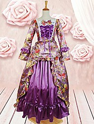 Long Sleeve Floor-length Light Purple Cotton Gothic Lolita Dress