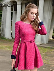 puntos de cuello contraste diseño patrón de color pulsera redonda de manga larga vestido delgado de mishow®women