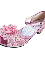 Girls' Shoes Casual Leatherette Heels Summer Comfort Low Heel Satin Flower / Magic Tape Pink