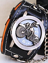 Unisex Round Dial Motorcycle PU Band Quartz Watch Cool Watches Unique Watches