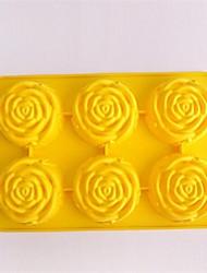 6 trous rose forme de moules à chocolat gâteau glace gelée, silicone 27,5 × 18 × 3,6 cm (11,8 × 7,1 × 1,4 pouces)